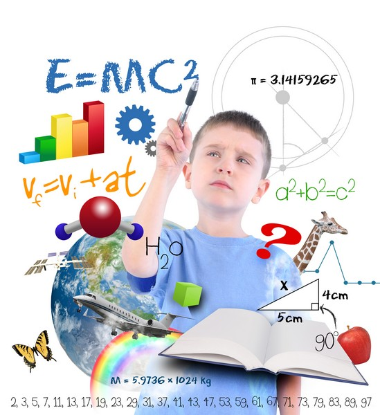 A young boy is writing on a white background with different science, math and physics icons around him. Use it for a school or learning concept.
